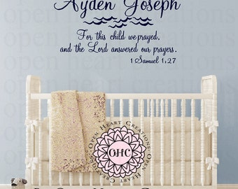 For this Child We Prayed Vinyl Wall Decal - Nautical Baby Nursery Decor with Personalized Name BA0247