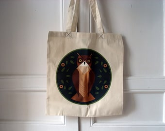 Modern hex signs - owl tote