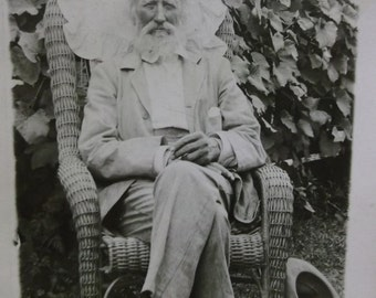 Old Man-Long Gray Hair-Beard-Hat-Vine-ID'd Halterman-Vintage Real Photo Postcard