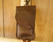 """Cellphone case, Autumn, brown with gold, lambskin leather with trigger clip, belt loop and a ball button, 5"""" x 3"""" inside measurement"""