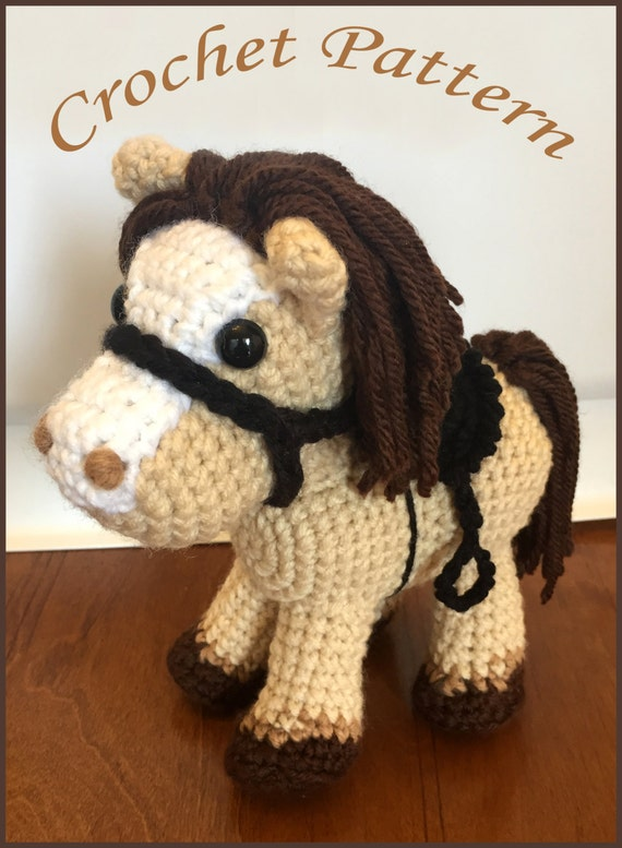 Pony Amigurumi Patron Gratis : Jack the Pony PDF Crochet Pattern Amigurumi Horse and Saddle