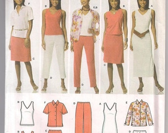Simplicity 4992 Shirt Pattern Knit Tank, Dress and Top, Skirt Pattern Pants Pattern, Easy to Sew Wardrobe, Office Casual 10 12 14 16 18