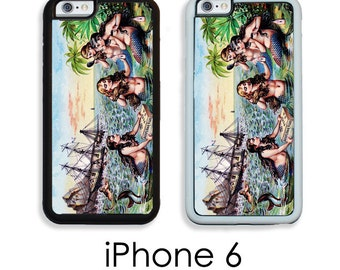 iPhone 6S 6 or PLUS Mermaids Phone Case  Pointlism Mermaid Vintage Art Your Trim Choice Hard , Rubber or Tough Cases