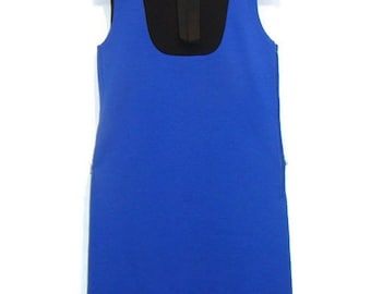 Vintage Blue and Black Color Block Sleeveless Dress Vintage Knit Dress Vintage A Line Dresses Vintage Sleeveless Dress Vintage Dresses