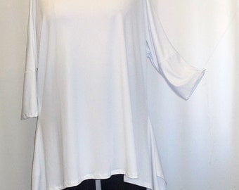 Coco and Juan, Lagenlook, Plus Size Top, White, Traveler Knit Drape Side, Womens Tunic Top, One Size, Bust  to 60 inches