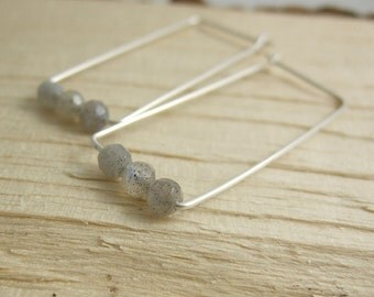 Rectangular Shaped Hoop Earrings with Labradorite Beads CHE-215