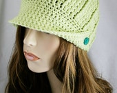Womens Newsboy Hat or Fedora Style Women's Crochet Hat Brim Beanie Fitted Cap Unisex Color Options Available