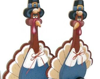 Hand Painted Thanksgiving Pilgrim Turkey Decoration