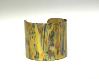 Copper cuff, wide bracelet,flame painted, colorful patina, abstract modern, OOAK hippie boho,renaissance, SilverStonesConcepts