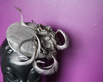 Silver Grey Floral and Feather Button Hat