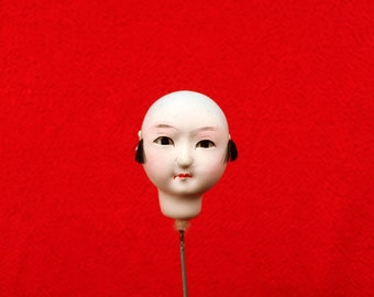 Japanese Doll Head - Vintage  Doll Head - Boy Doll Head - Man Doll Head - Monk No.1 Small Size Bald