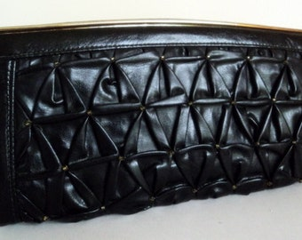 Vintage 1980's Black Leather Clutch // Beaded Smocked Clutch // Small Black Handbag // Pleated Clutch Purse // Fall Trend
