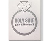 Funny Letterpress Wedding Engagement Bridal Shower Diamond Ring Card
