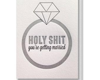 Funny Letterpress Wedding Engagement Bridal Shower Diamond Ring Card