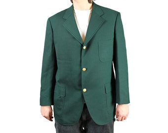 Vintage Mens Blazer 42S Forest Green Wool Blend Gold Buttons Jacket Sports Coat Free US Shipping