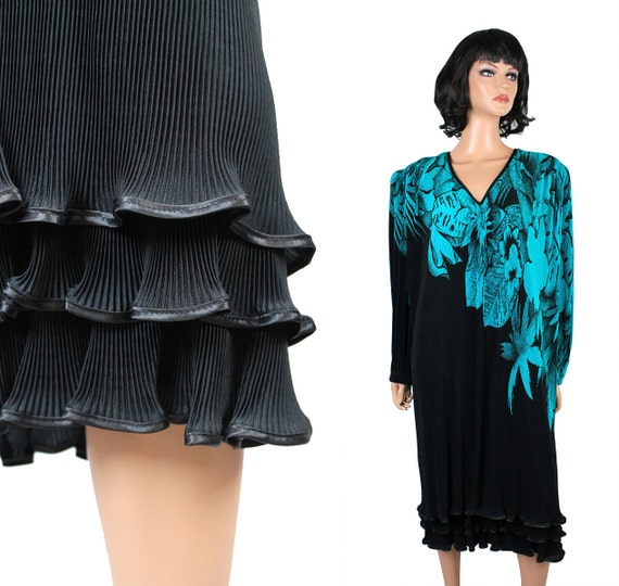 80s cocktail dress xxl 2x black teal floral micro pleated for Cocktail xxl