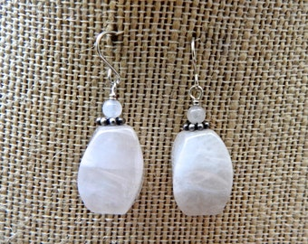 Rose Quartz Silver Drop Earrings
