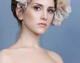 Beaded Blush Flower Wedding Headpiece