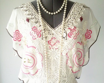 boho top, vacation top, white lace top, lace blouse, pink floral top, romantic lace top, boho clothing