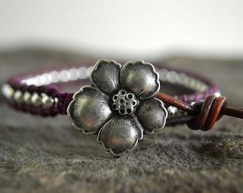 Mulberry Wild Rose Leather Wrap Bracelet