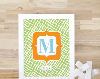 Personalized Baby Decor Kids Room Wall Art Vintage Letter Art Print Green Orange 8x10 16x20 Framed Print. Custom Vintage Letter Print Green