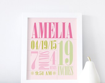 Birth Announcement Wall Art, Birth Stats Wall Art, Baby Name Poster, Baby Gift, Nursery Decor, Pink, Green 8x10, 16x20. Custom Birth Print