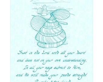 PROVERBS 3:5-6 - 8X10 Hand Written Calligraphy & Seashells Art Print Teal Ink White Burlap Background Christian Home Decor Wall Art