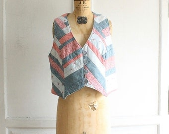 vintage quilted patchwork calico vest 80s cotton handmade