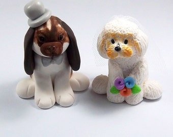 Wedding Cake Topper, Bunny Figurine, Bichon Frise Dog, Pets Cake Topper, Personalized