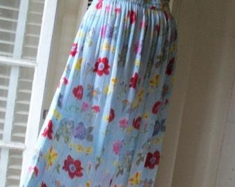 Vintage 1970s Boho Chic Festival Broomstick Style Skirt Gauze Size M/L Exec Cond Lightweight