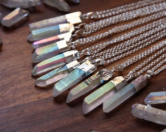 Pastel Angel Aura Quartz Silver Dipped Necklace - Rough Clear Raw Point Rainbow Crystal Sterling Silver Plated Chain, Natural Layering