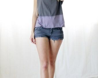 Grey and Purple tie dye shirt, Women t-shirt, short sleeves t-shirt, Designer Shirt