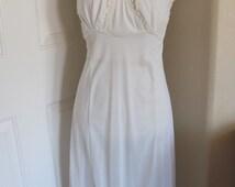 Vintage Ladies Lace White Silky Lingerie Boudior Pajama Nightgown Slip