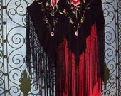 RESERVED For Sally Silk Piano Shawl  Fringe Kimono  Jacket  Poncho  Boho  Cardigan  Stevie Nicks Flamenco Gatsby Flapper  Plus Size Resort