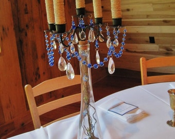 Outdoor Chic Woodsy Glam Taper Style Iron and Glass Candelabra MADE TO ORDER