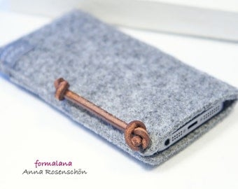 gray felt case for iPhone 4 5 6plus leather bag mobile Samsung HTC LG