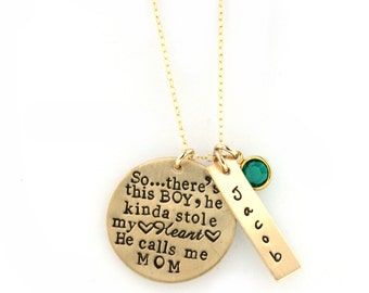 So..There's This Boy Who Stole My Heart, He calls me MOM - Personalized Mother & Son Necklace 14k GOLD FILLED Necklace