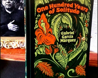 Literary Book Clutch Gabriel Garcia Marquez One Hundred Years of Solitude Ornate Flora and Fauna Made to Order