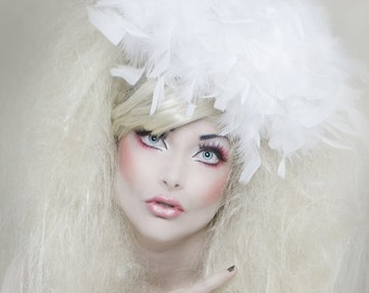White feather boa hat fascinator retro vintage style