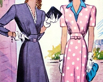 UNCUT * 1940s McCall Pattern 4771  * RARE *  Ladies' GLAM Dress with Surplice V Neckline & Detachable Vestee  * Size 18 * Bust 36
