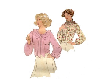 1970s Ruffled Blouses Pattern Ruffle Tie Collar Long Sleeves Simplicity 8736 Bust 34 Vintage Sewing Pattern 1980s Short Sleeve Blouse