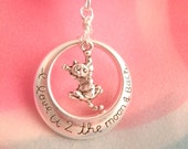 Kitten with Hang on Kitty Love You to the Moon and Back  Necklace Round pendant with Dangling Cat Charm
