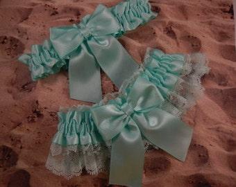 All Mint Green Satin Mint Green Lace Wedding Bridal Garter Toss Set