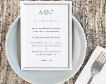 Printable Wedding Menu Template | INSTANT DOWNLOAD | Mint Type | 5x7 | Editable Colors | Mac or PC | Word & Pages