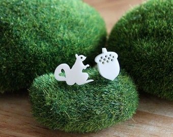 Snowy Squirrel & Acorn Stud Earrings, Squirrel Earrings, Acorn Earrings, Odd Pair, Fun Stud Earrings