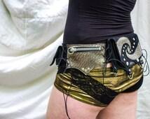 Six Pocket Unisex Utility Pocket Belt- Black and Metalic Steampunk Festival Belt, Burning Man, Tribal, Fairy, Cyber