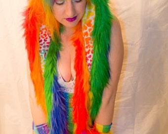 Magical Rainbow Unisex Kitty Scoodie- Rave, Festival, Burning Man, Kandi, Anime, Warm Winter Cat Hood