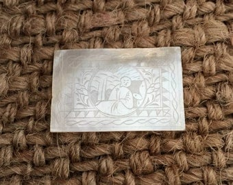 Antique Mother of Pearl Miniature Art Chinese Game Marker 1800s Gaming Token