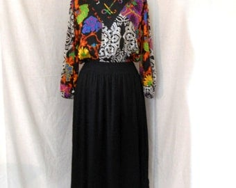 CLOSING SALE Diane Freis polyester georgette dress with pleated skirt. 1980s. M-L. One size fits most. Boho. Seventies