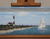 Wall Mounted Mailbox,  Hand Painted Mailbox, Lighthouse Mailbox, Beach Decor, Long Island Mailbox